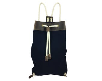 Panarea Backpack with Soft Rope & Brown Leather Details