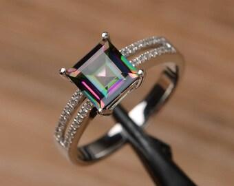 mystic topaz ring promise wedding ring square cut sterling silver ring rainbow gemstone birthstone ring