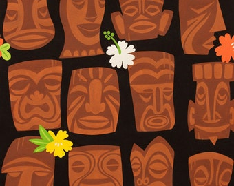 Alexander Henry Tahiti Tiki - hawaiian tiki head and tropical hibiscus flower Fabric - Black - Per 1/2 metre - 100% Cotton