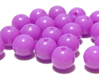 10mm Opaque acrylic plastic beads in Orchid 20 beads