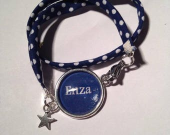 Jewelry Bracelets Support Cabochon & A Polka dot Navy Blue & white PERSONALISE fabric charms