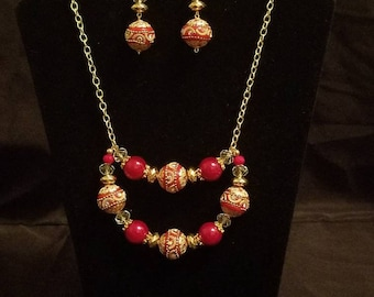 Red and Gold Necklace and Earring Set