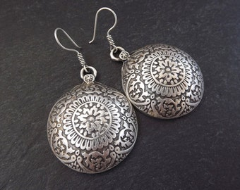 Mandala Dome Statement Tribal Ethnic Silver Earrings - Authentic Turkish Style
