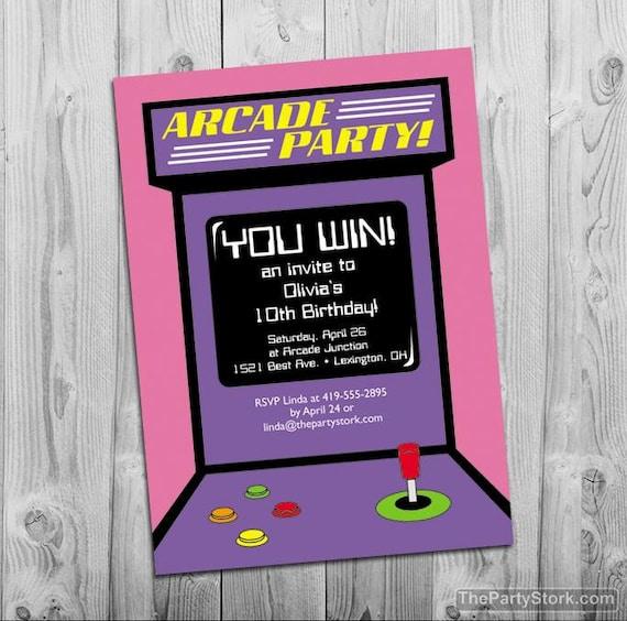 arcade party invitation digital printable invite for girls