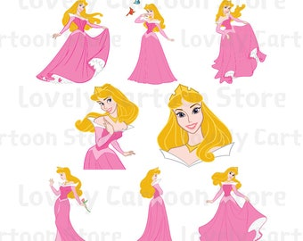 Princess Aurora Svg, Eps, Dxf and Png formats - 8 Cliparts - Disney Princess - Sleeping Beauty - Digital Download