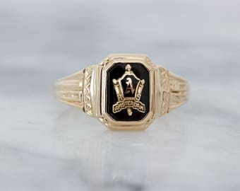 Antique 1946 Amsterdam Class Ring | Letter A Monogram Initial Jewelry | 10k Yellow Gold Stacking Ring | Signet Ring for Women | Size 7.75