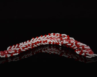 CLEARANCE *FT86 Red and White Rope Bracelet, Size 8.5