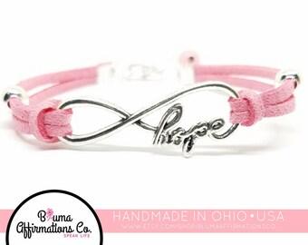 Breast Cancer Bracelet   Survivor Bracelet   Infinity Hope Bracelet    Breast Cancer Charm Bracelet   Breast Cancer Awareness Jewelery