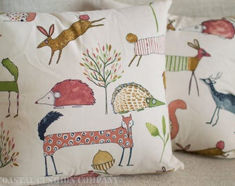 "Forest Friends, Deer, Hedgehog, Fox and co Cushion Cover. Cute multi-coloured design, 17"" x 17"" square, 100% cotton."