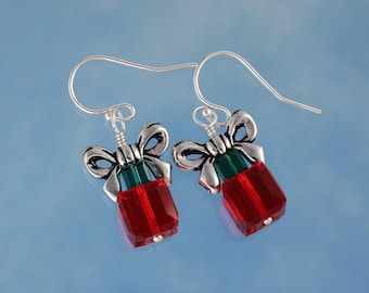 Red & Green Present Earrings-  Swarovski Crystals, Silver Bows, Sterling Silver Hooks- also in Gold - Christmas Holiday - free shipping USA