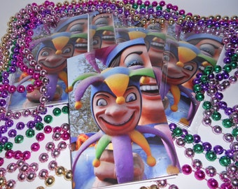 Mardi Gras Jester Greeting Cards
