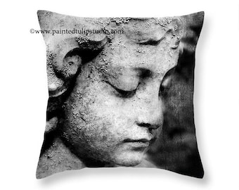 Child Guardian Angel Statue Black and White Cemetery Angel Square Accent Pillow Fine Art Photography Home Decor