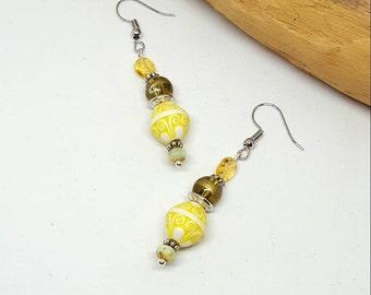 Yellow Boho Chic Earrings - Yellow Earrings - Boho Chic Earrings