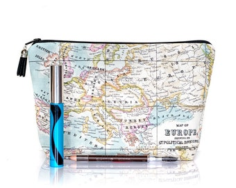 Map Makeup bag, Make up case, Globe toiletry case, World map, Large zipper bag, Random map, Wash bag, Gadget bag, Cosmetic case