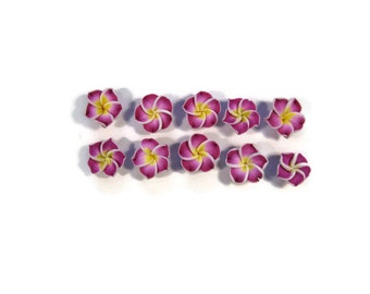 12 mm Polymer Clay Plumeria Flowers Set of 10 (MP8)