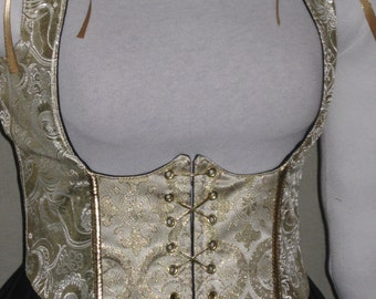 DDNJ Choose Fabric Reversible Front Lace UnderBust Corset Style Bodice Plus Custom Made ANY Size Renaissance Anime Pirate Medieval Wench