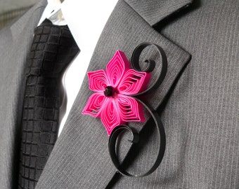 Hot Pink and Black Floral Boutonniere, Buttonhole Ideas for Wedding, Hot Pink Flowers for Wedding, Gifts for Your Groomsmen