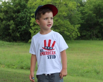 All American Stud Shirt or Bodysuit / Fourth of July Shirt / Boy's 4th of July Shirt / All American Stud / 4th of July / Independence Day