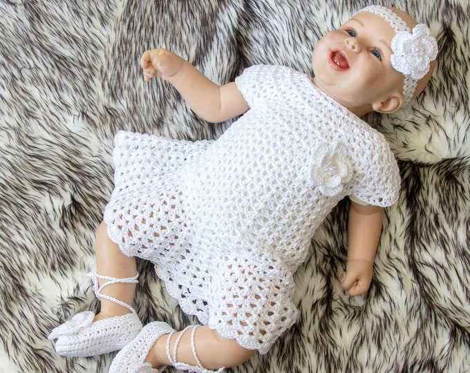 Crochet Baby Dress Set - Baptism set - Baby girl summer clothes - Crochet baby christening gown - Baby girl clothes- Baby girl summer outfit