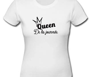 personalized white bachelorette party queen of the day t-shirt