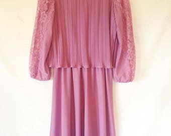 vintage 1980s dress lavender pink dress medium vintage dress 1980s 80s eighties pleated dress bodice overlay polyester dress with lace trim