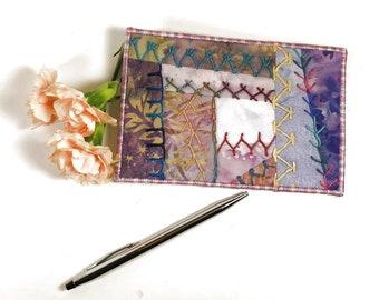 Mauve Crazy Quilt Postcard, Hand Embroidered Postcard, One of a Kind Batik Fabric Postcard, Fibre Art Postcard, Textile Art Postcard