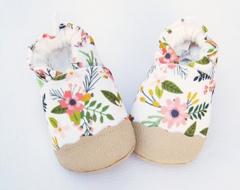 Eco-Canvas Vegan Sprigs and Blooms in Coral / non-slip soft sole baby shoes / made to order / babies toddlers preschool