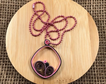 Pink and Gray Paper Quilled Necklace