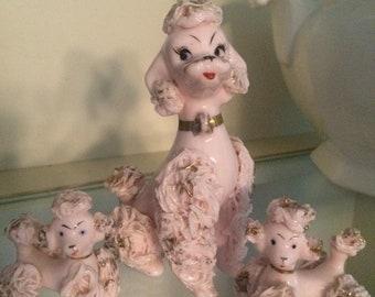 Set 50's Pink Poodle Spaghetti Figurines