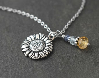 Sunflower Necklace, Sunflower Jewelry, Sunflower Gift, Sunflower lover Gift, Citrine Necklace, Silver Sunflower Charm