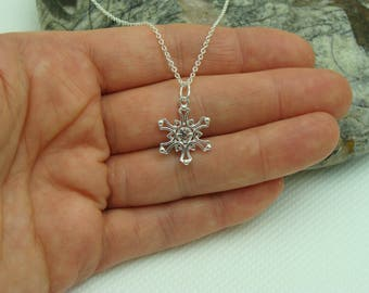 Snowflake Sterling Silver Necklace, Sterling Silver necklace with Sterling Silver 12mm Fancy Snowflake pendant/charm