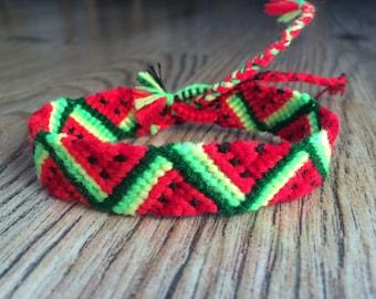 Friendship Bracelet woven.Friendship jewelry.Birthday bracelet.Girls little bracelet Woven Braided Best friend present.Fruit.Neon.Watermelon