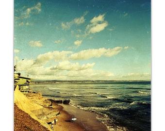 beach photography, santa cruz, beach art, vintage beach, santa cruz photography, summer, surfer - pleasure point, 8x8 photography print