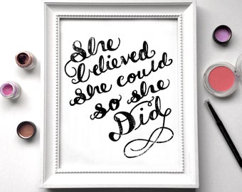 women just do it, She Believed She Could So She Did, Girl Wall Art, Girl Boss Wall Art, Girl Boss, Wall Art For Women, BFF, sister gift