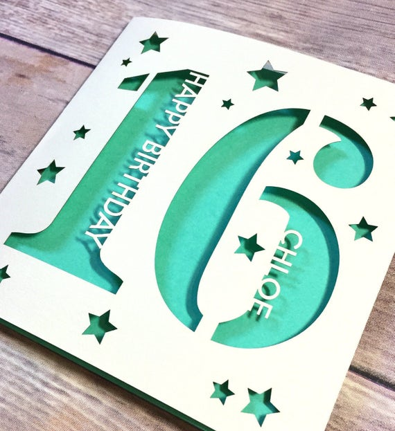 Personalised 16th birthday card son 16th card daughter 16th personalised 16th birthday card son 16th card daughter 16th card sixteen card sweet sixteen niece 16th nephew 16th handmade lasercut bookmarktalkfo Gallery
