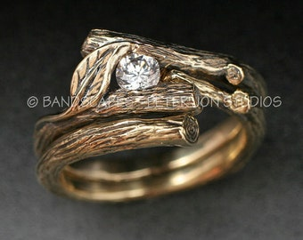 14k Gold, MOISSANITE, KIJANI Wedding Set, Engagement Ring and matching Wedding Band, 14k yellow, white or rose gold