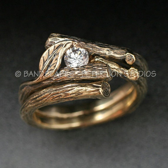 14k Gold Moissanite Kijani Wedding Set Engagement Ring And