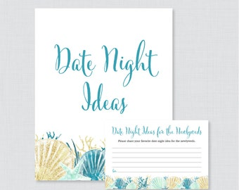 Date Night Ideas - Printable Beach Themed Bridal Shower Date Night Idea Cards and Sign - Blue Aqua Nautical Bridal Shower Activity 00012-B