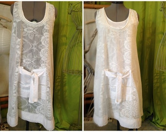 Shabby apron you from 38 to 44 white lace