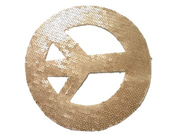1 PCS Gold Sequins PEACE patch applique transferred by Hot Fix, Iron On for Fashion Embellishment