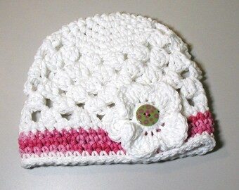 White Beanie Hat with 3 button on detachable flowers (fits babies to adults) (Lily Beanie)