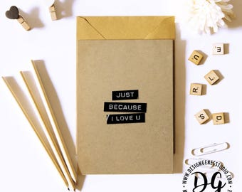 Any occasion card, Just because card, just cuz card, any occasion, minimalist love card,  rustic birthday, dymo label card, simple love card