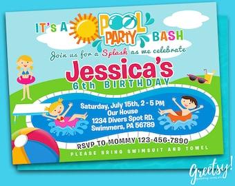Pool Party Invitation, Pool Party Birthday, Pool Party Theme, Pool Party Invites, Pool Party Printables, Pool Party Printable Supplies
