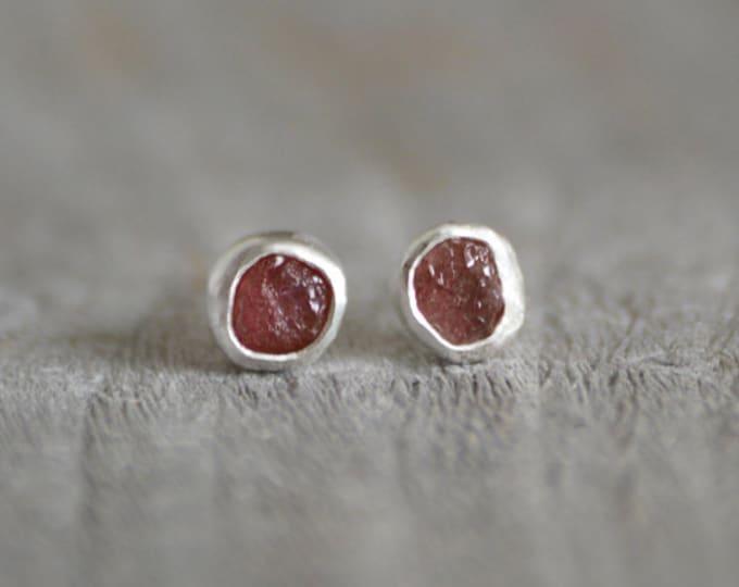 Raw Ruby Earring Studs, Total 1ct Rough Ruby, Ruby Wedding Gift, July Birthstone, Handmade In England