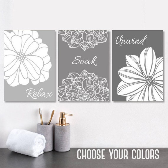 Bathroom Art Size: Gray BATHROOM Wall Art Bathroom Canvas Or Prints Gray Ombre
