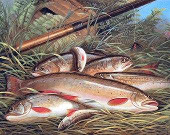 Brook Trout c1868 from Currier and Ives - Hand-cut wooden jigsaw puzzle for adults