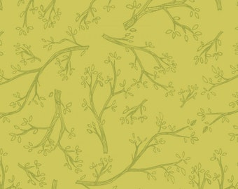 Spring Robins Olive, Y2375-24 designed by Teresa Magnuson for Clothworks, spring fabric, branches and leaves, olive