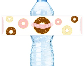 Donut #Party Water #Bottle #Labels