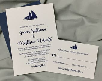 Sailboat Nautical wedding invitation, beach, destination, sailboat invitations