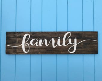 Family Sign - Family Wood Sign - Living Room Decor - Family Decor - Living Room Art - Home Decor - wood family sign - Valentine's Day Gift